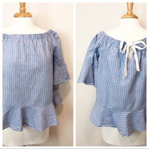 Willy Jays's • Off the Shoulder Chambray Stripe